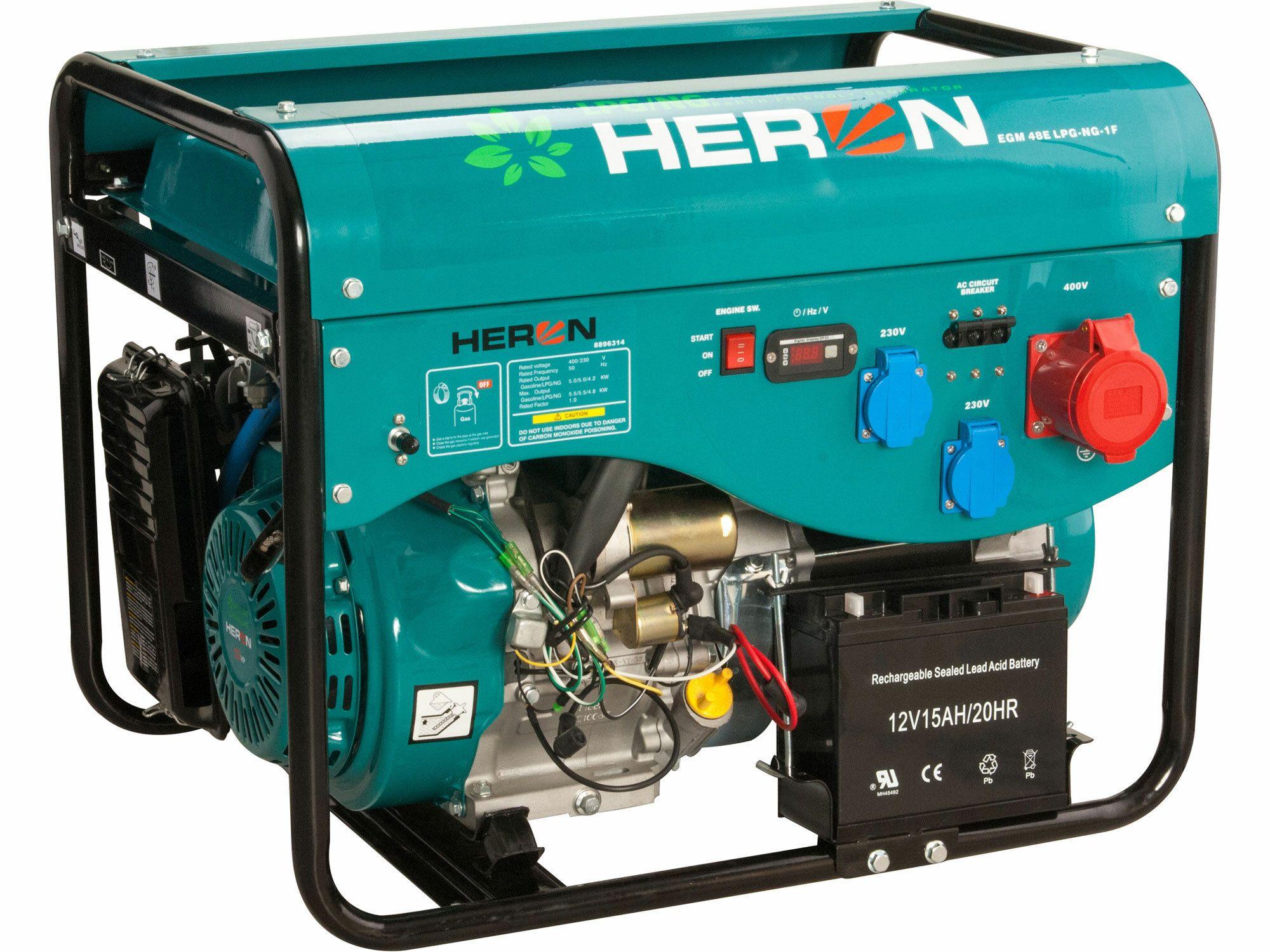 Elektrocentrála benzínová a plynová (LGP/NG) 13HP, el. start, LPGG 43-3F, záruka 3 roky HERON