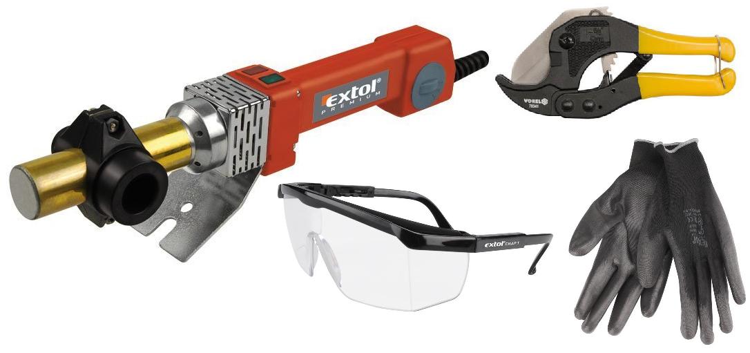 Svářečka polyfúzní, 800W, 0-300°C, EXTOL PREMIUM + kleště na trubky + brýle + rukavice