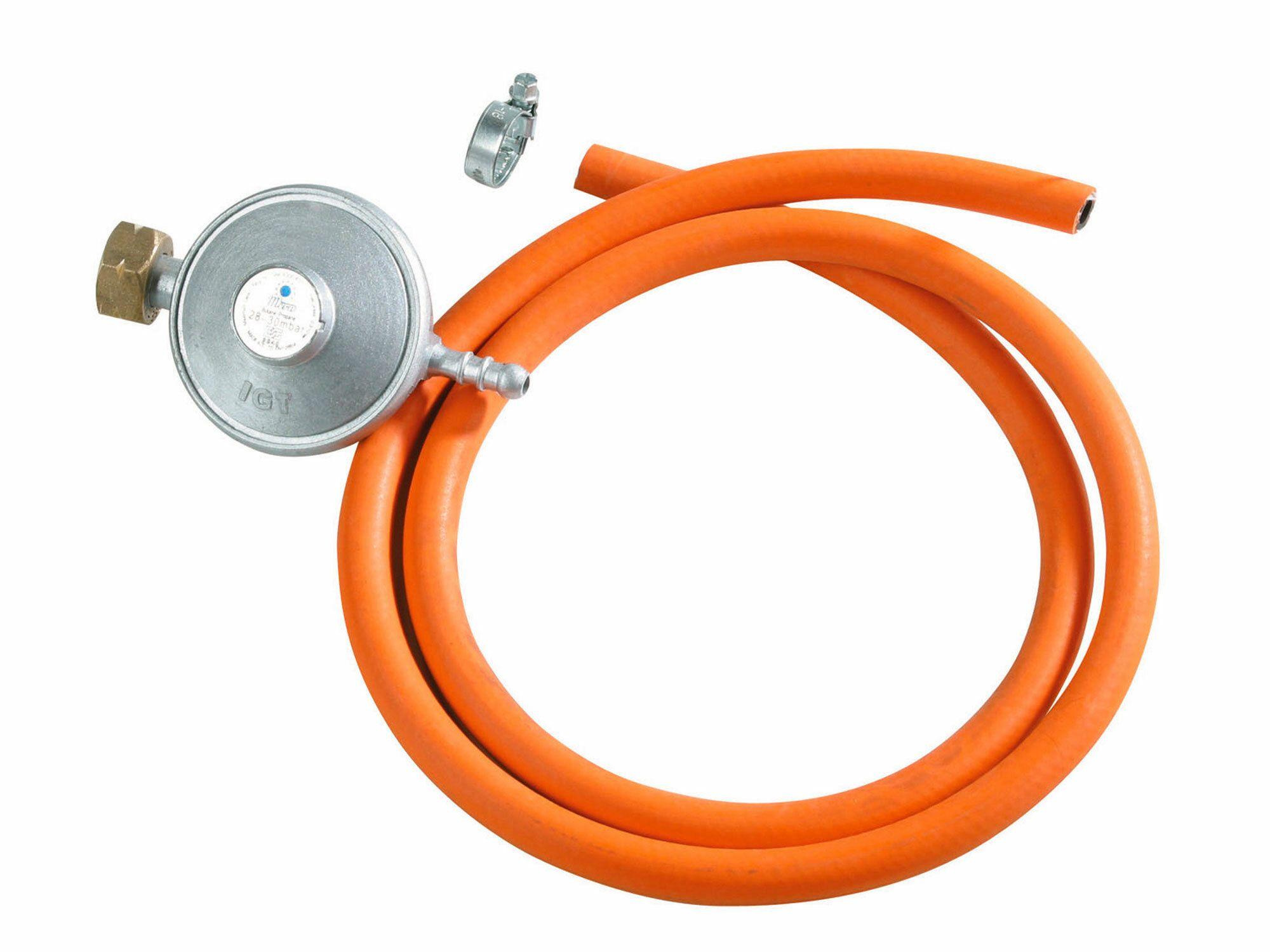 Regulátor tlaku 30mbar s hadicí, regulátor tlaku 30mbar (3kPa), hadice na LPG 1,5m, HERON