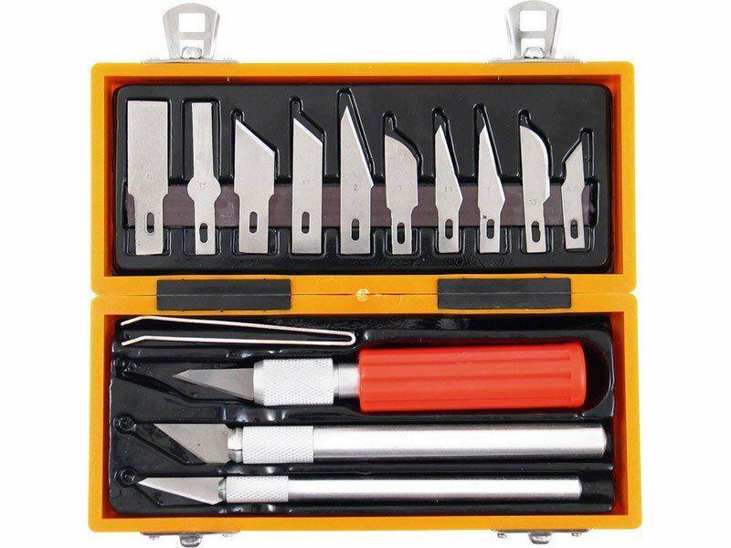 Nože na vyřezávání, sada 14ks, v krabičce z ABS pl. EXTOL-CRAFT