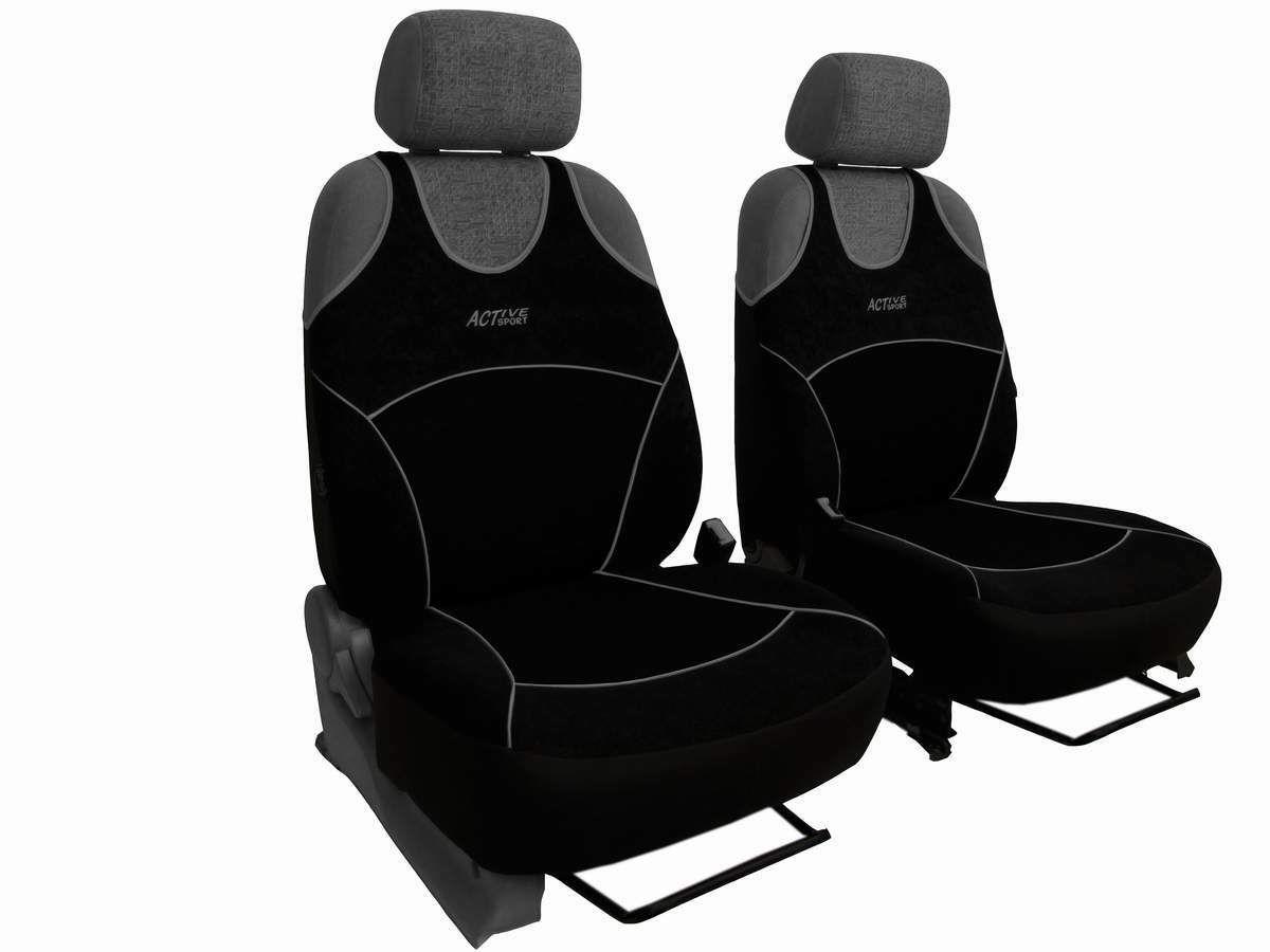 Autopotahy Active Sport Alcantara, sada pro dvě sedadla, černé SIXTOL