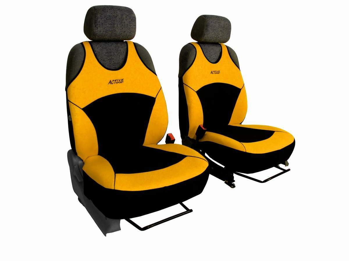 Autopotahy Active Sport Alcantara, sada pro dvě sedadla, žluté SIXTOL
