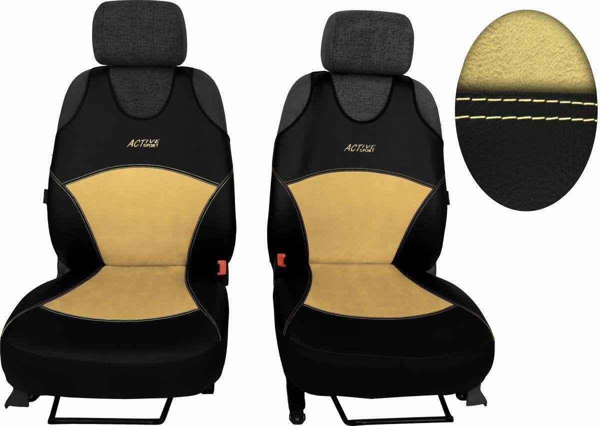 Autopotahy Active Sport kožené s alcantarou, sada pro dvě sedadla, béžové SIXTOL