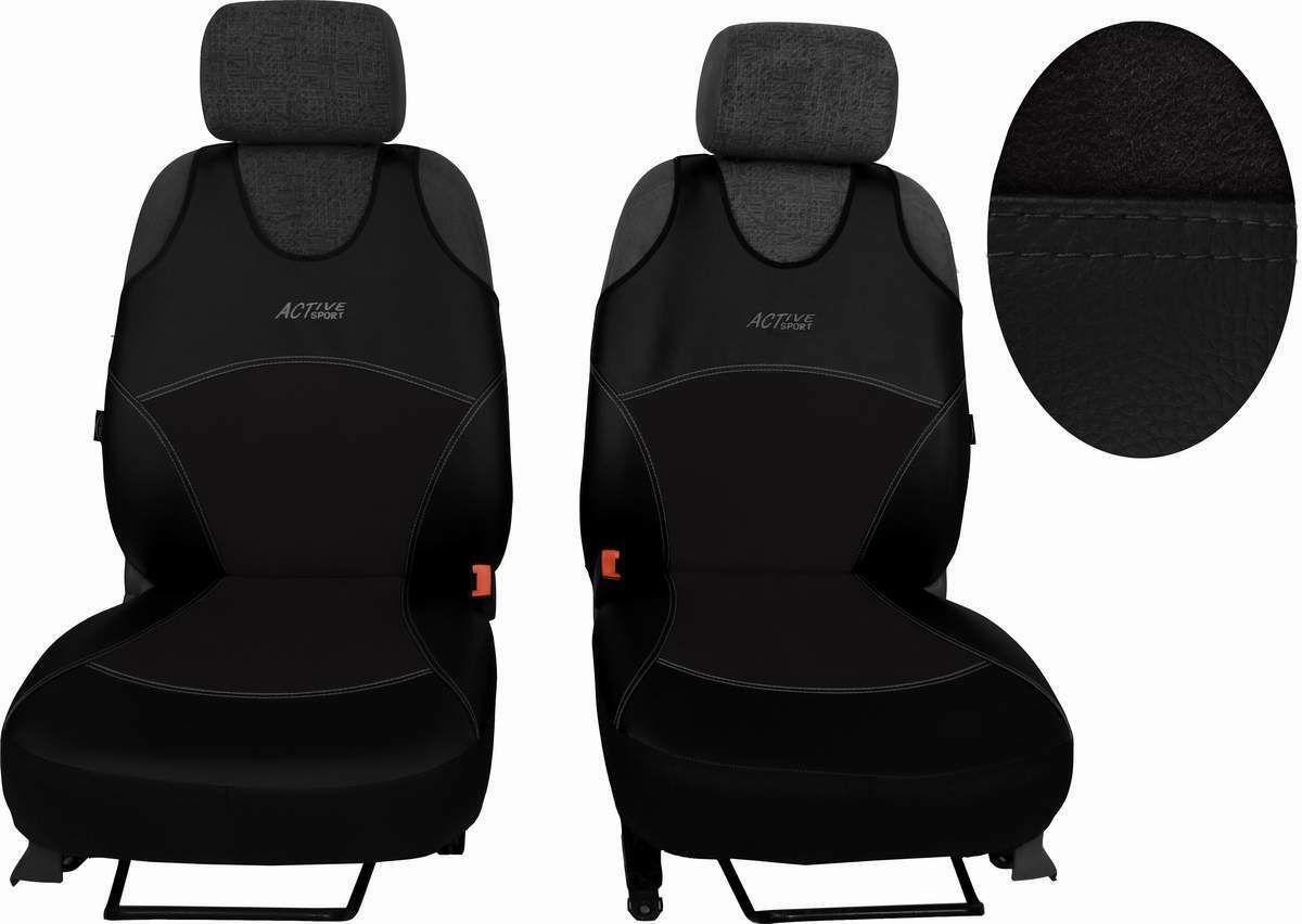 Autopotahy Active Sport kožené s alcantarou, sada pro dvě sedadla, černé SIXTOL