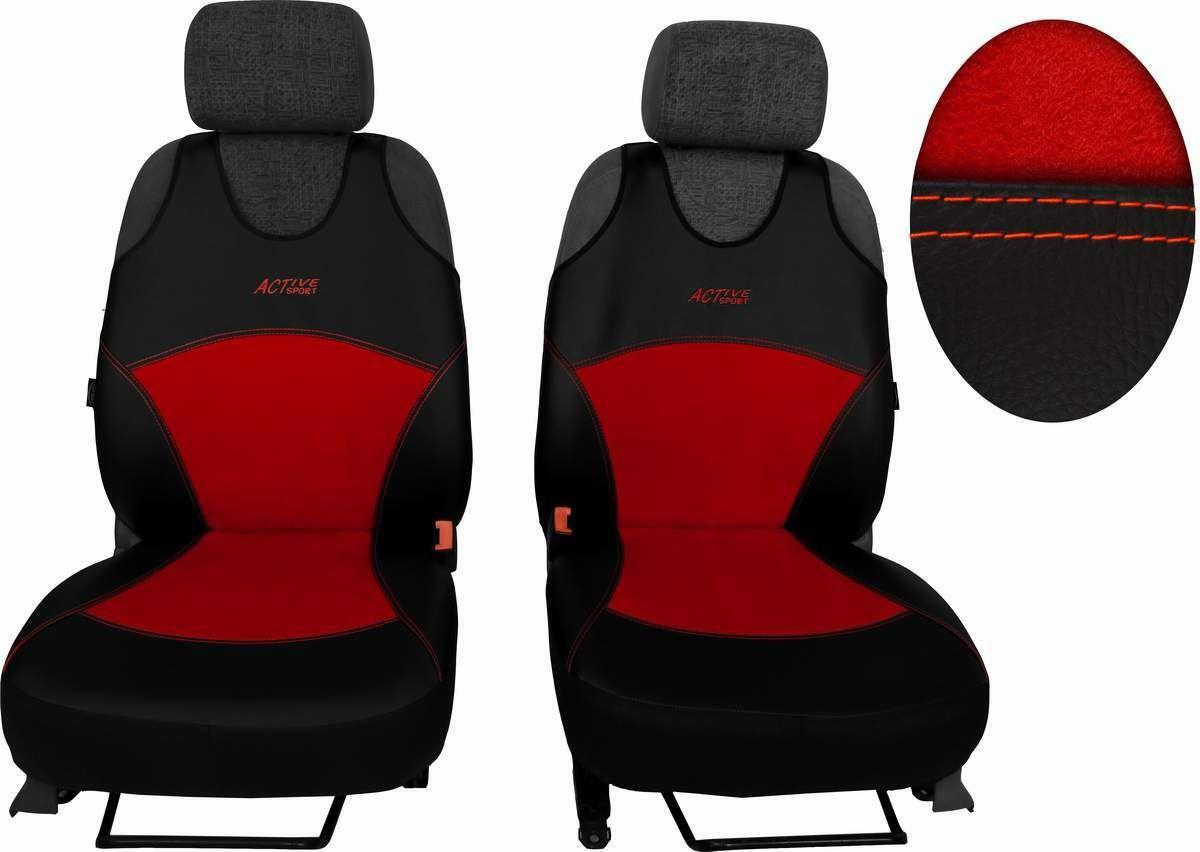 Autopotahy Active Sport kožené s alcantarou, sada pro dvě sedadla, červené SIXTOL