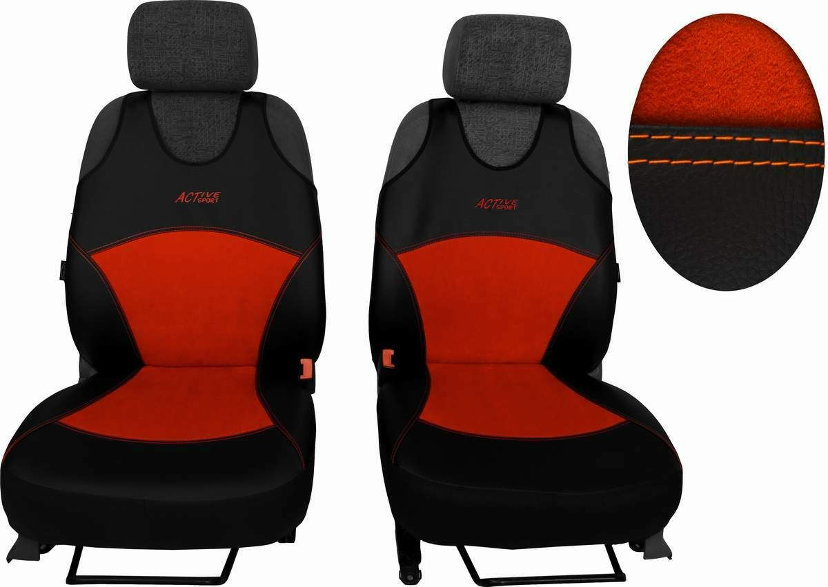 Autopotahy Active Sport kožené s alcantarou, sada pro dvě sedadla, cíhlové SIXTOL