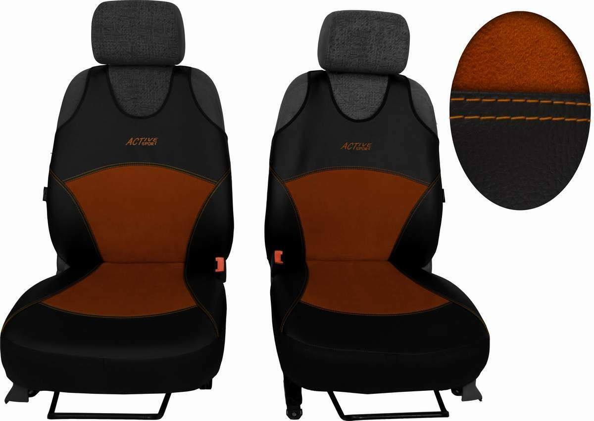 Autopotahy Active Sport kožené s alcantarou, sada pro dvě sedadla, hnědé SIXTOL
