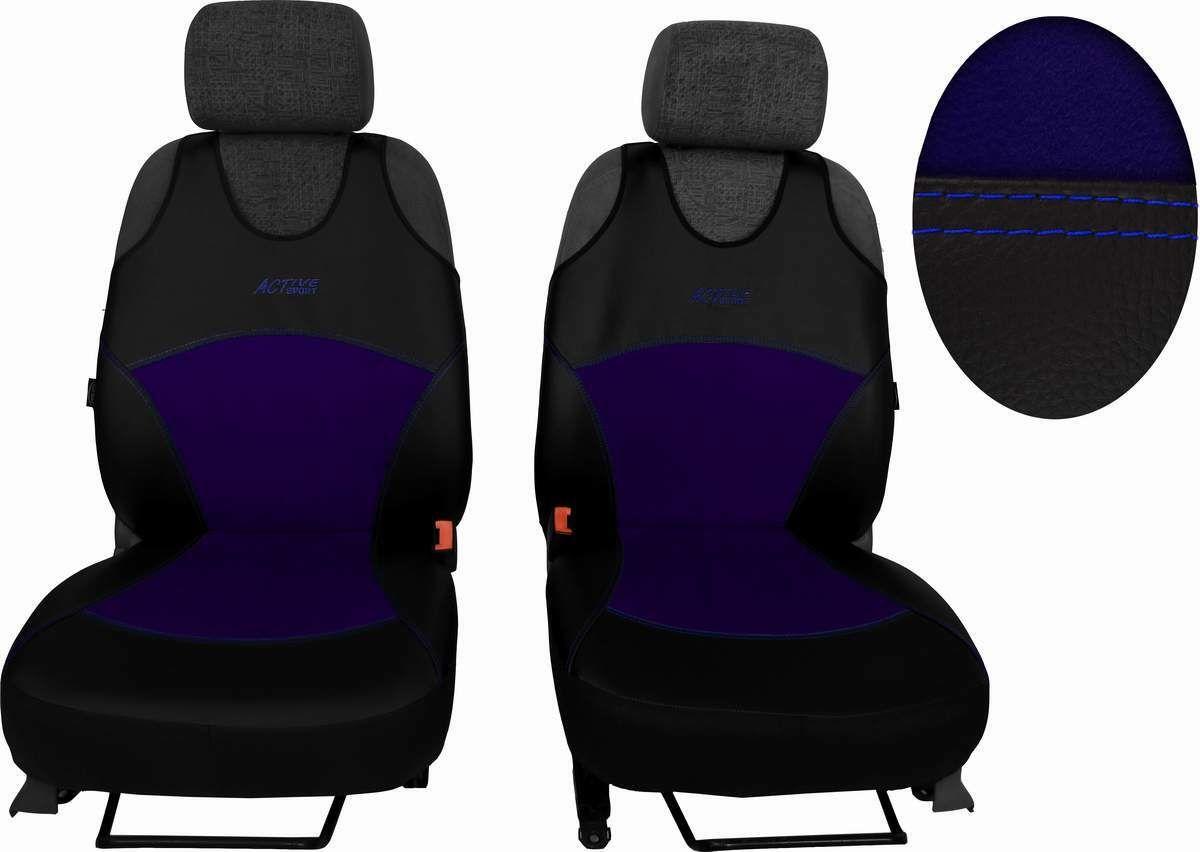 Autopotahy Active Sport kožené s alcantarou, sada pro dvě sedadla, modré SIXTOL
