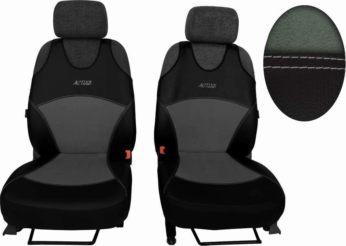 Autopotahy Active Sport kožené s alcantarou, sada pro dvě sedadla, světlešedé SIXTOL