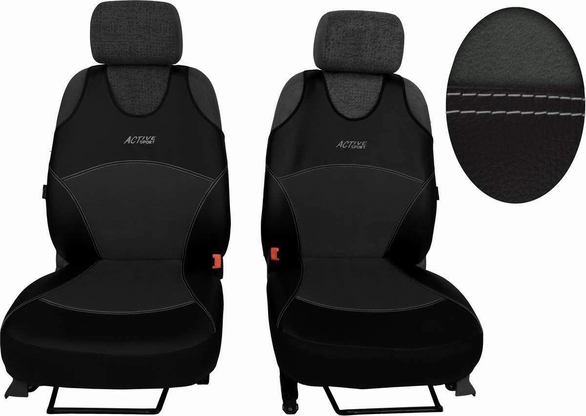 Autopotahy Active Sport kožené s alcantarou, sada pro dvě sedadla, tmavošedé