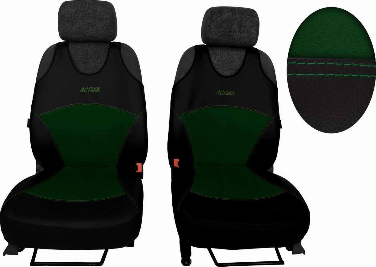 Autopotahy Active Sport kožené s alcantarou, sada pro dvě sedadla, zelené SIXTOL