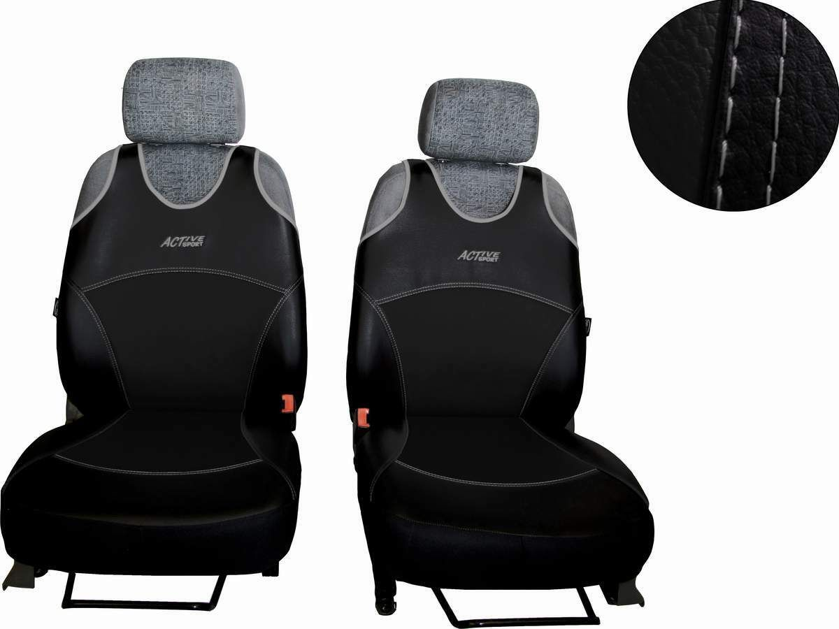 Autopotahy Active Sport kožené, sada pro dvě sedadla, černé SIXTOL