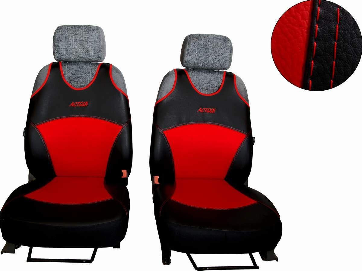 Autopotahy Active Sport kožené, sada pro dvě sedadla, červené