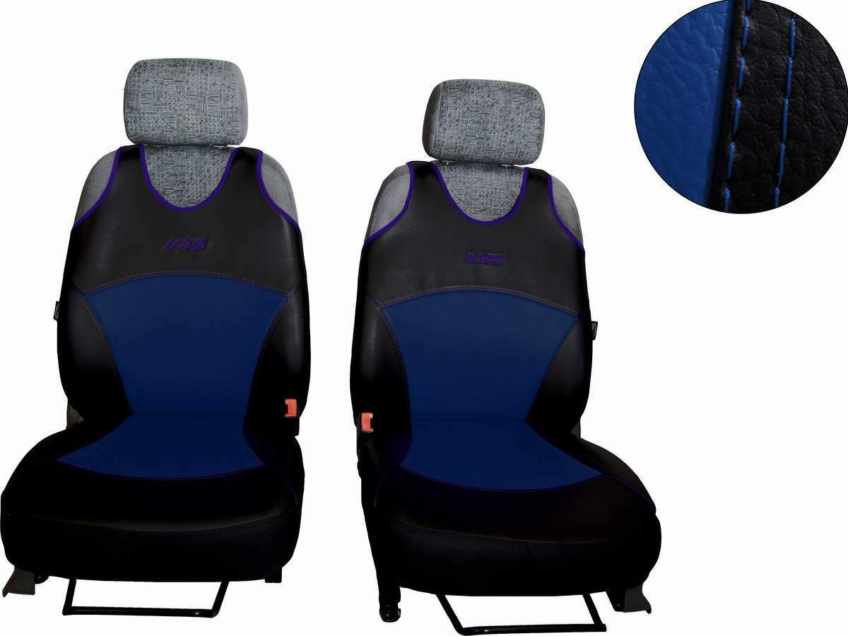 Autopotahy Active Sport kožené, sada pro dvě sedadla, modré SIXTOL