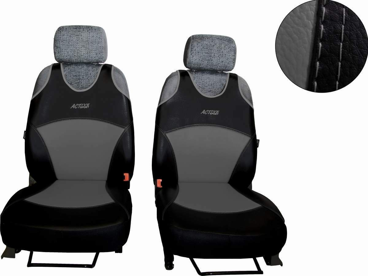 Autopotahy Active Sport kožené, sada pro dvě sedadla, šedé SIXTOL
