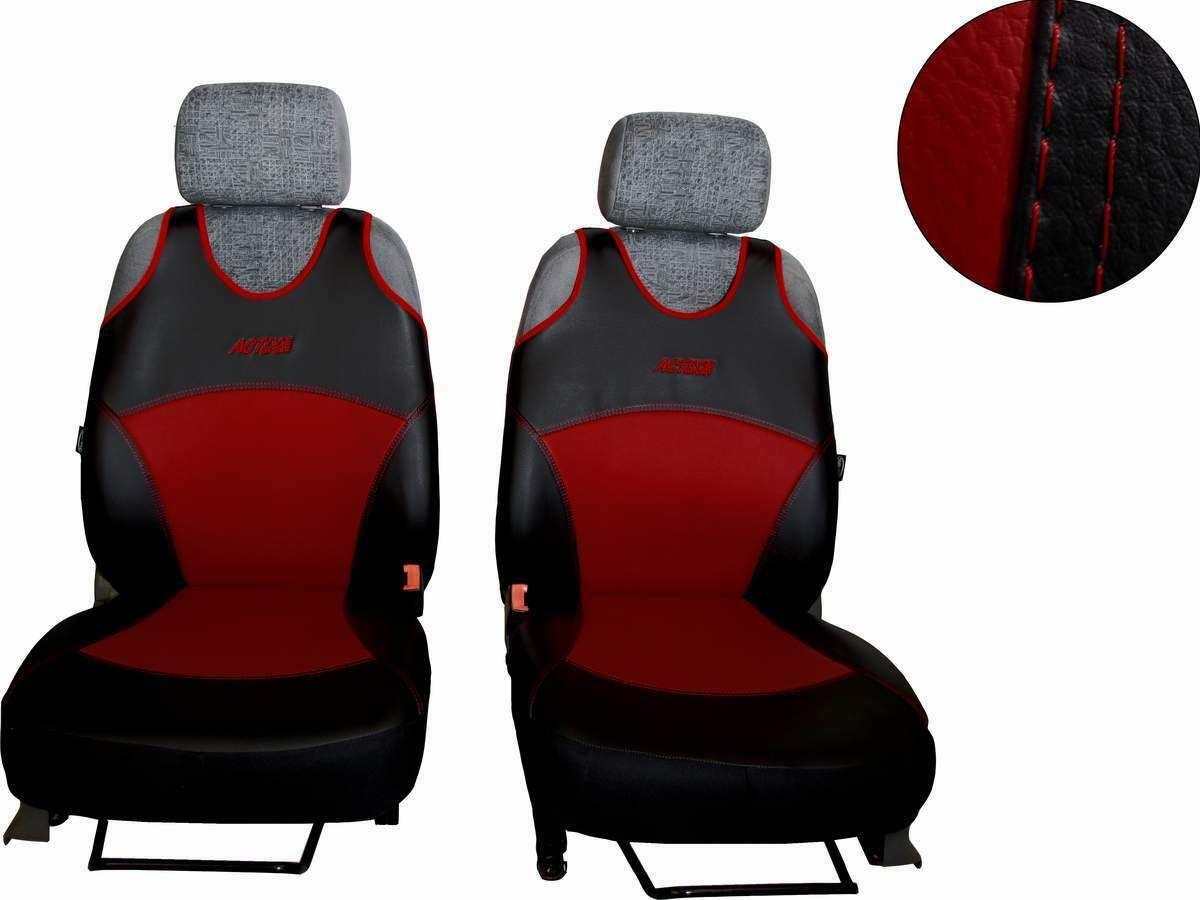 Autopotahy Active Sport kožené, sada pro dvě sedadla, vínové SIXTOL