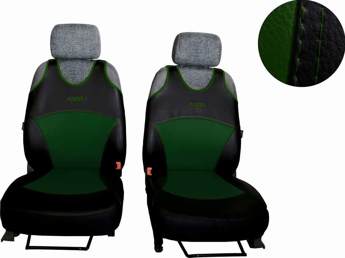Autopotahy Active Sport kožené, sada pro dvě sedadla, zelené SIXTOL
