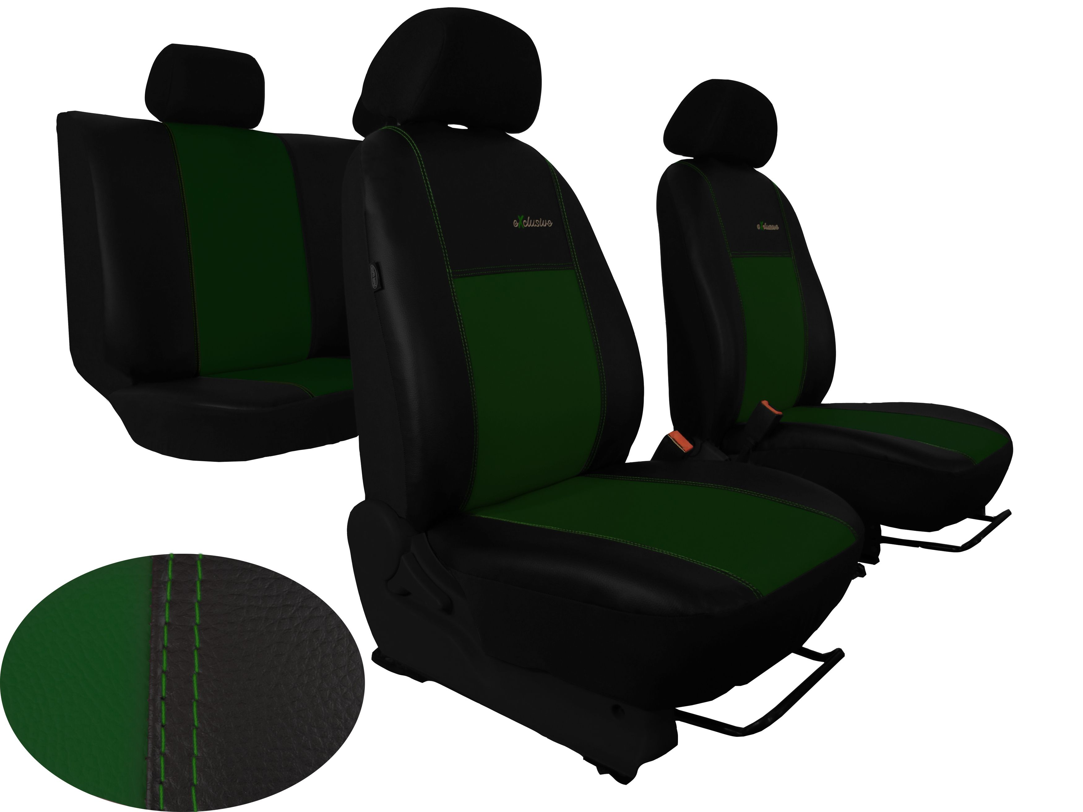 Autopotahy Škoda Octavia II, kožené s alcantarou EXCLUSIVE zelené, dělené