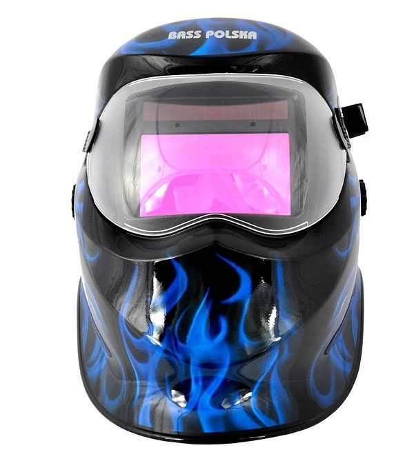 Svářecí kukla samostmívací černá + modré plameny, BASS