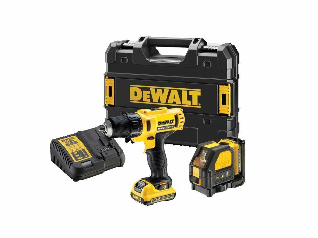 Kombo sada aku nářadí 10,8V DeWALT DCK215D2T, šroubovák + křížový laser