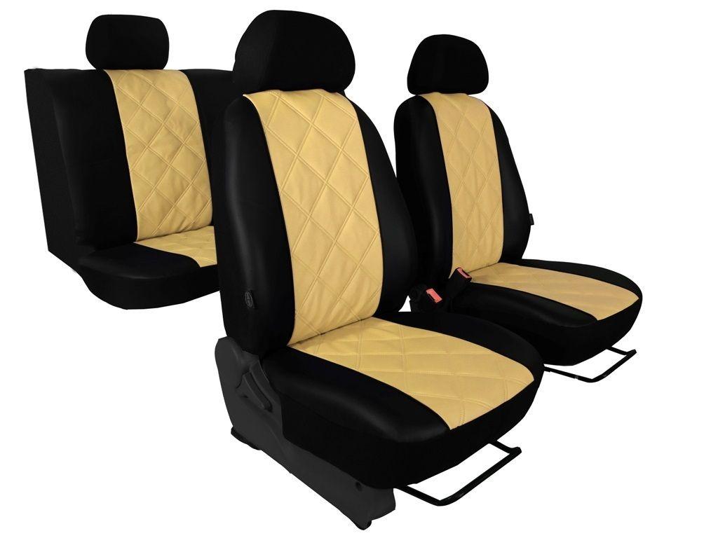 Autopotahy Škoda Fabia II, kožené EMBOSSY, dělené zadní sedadla, béžové