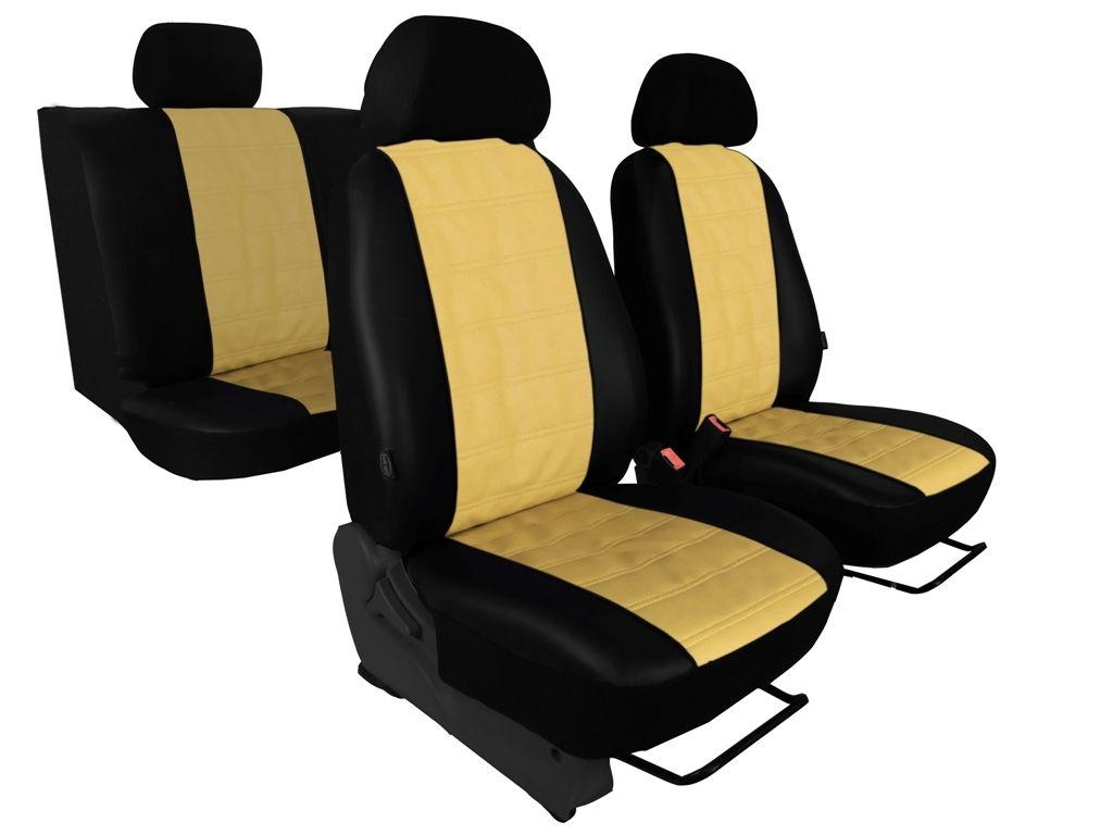 Autopotahy EMBOSSY kožené, pruhovaný plastický vzor, béžové SIXTOL