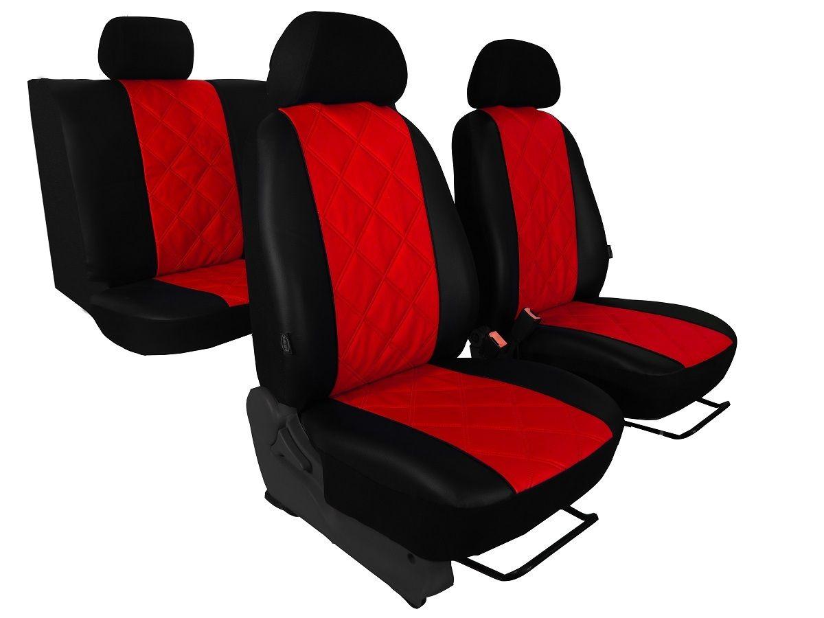 Autopotahy Škoda Fabia II, kožené EMBOSSY, dělené zadní sedadla, červené