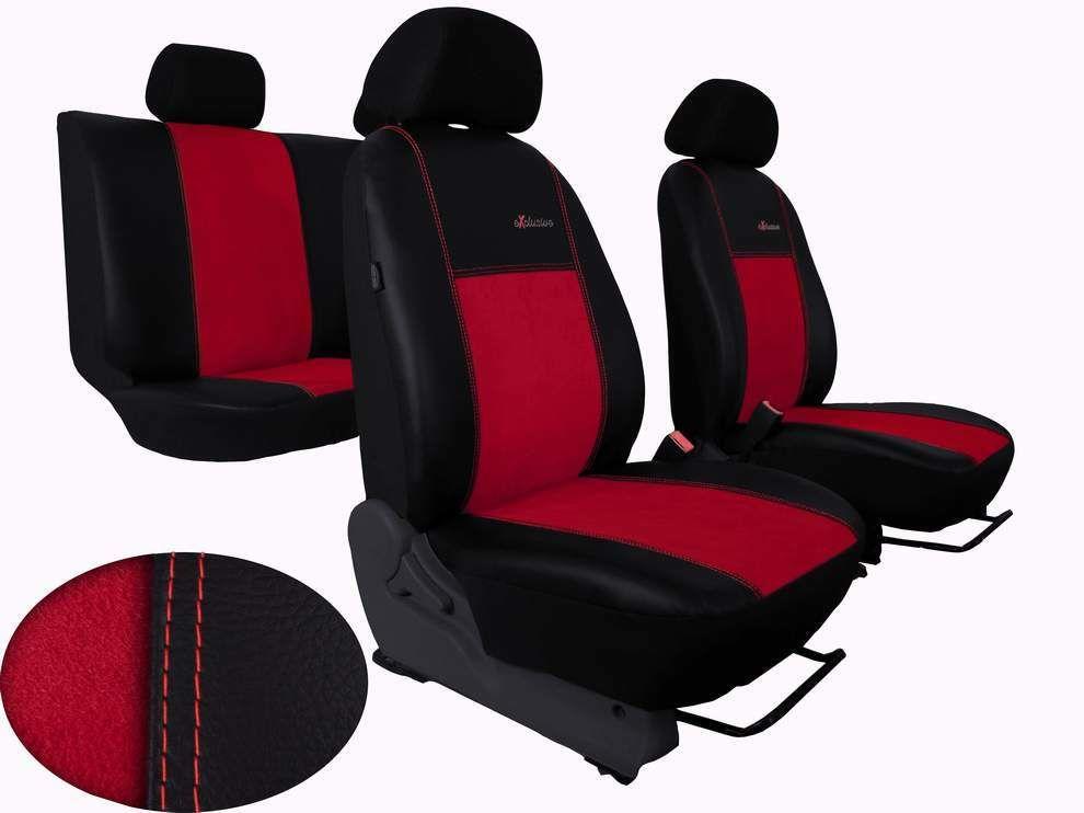 Autopotahy FIAT DUCATO II, 3 místa, stolek, EXCLUSIVE kožené s alcantarou, červené SIXTOL