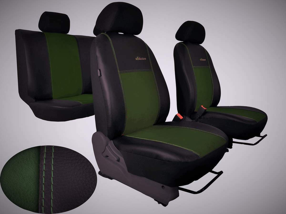 Autopotahy FIAT DUCATO II, 3 místa, stolek, EXCLUSIVE kožené s alcantarou, zelené