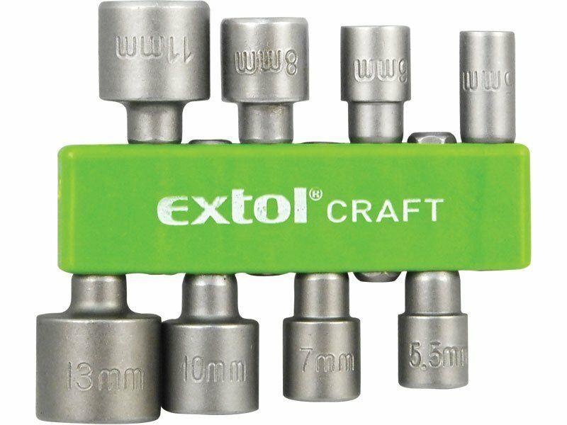 "Klíče nástrčné do vrtačky, 8ks, 5-5,5-6-7-8-10-11-13mm, 1/4"" šestihran, CrV EXTOL-CRAFT"