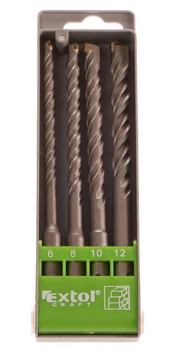 Vrtáky SDS PLUS příklepové do betonu, sada 4ks, Ř6-8-10-12x160mm, SK EXTOL-CRAFT
