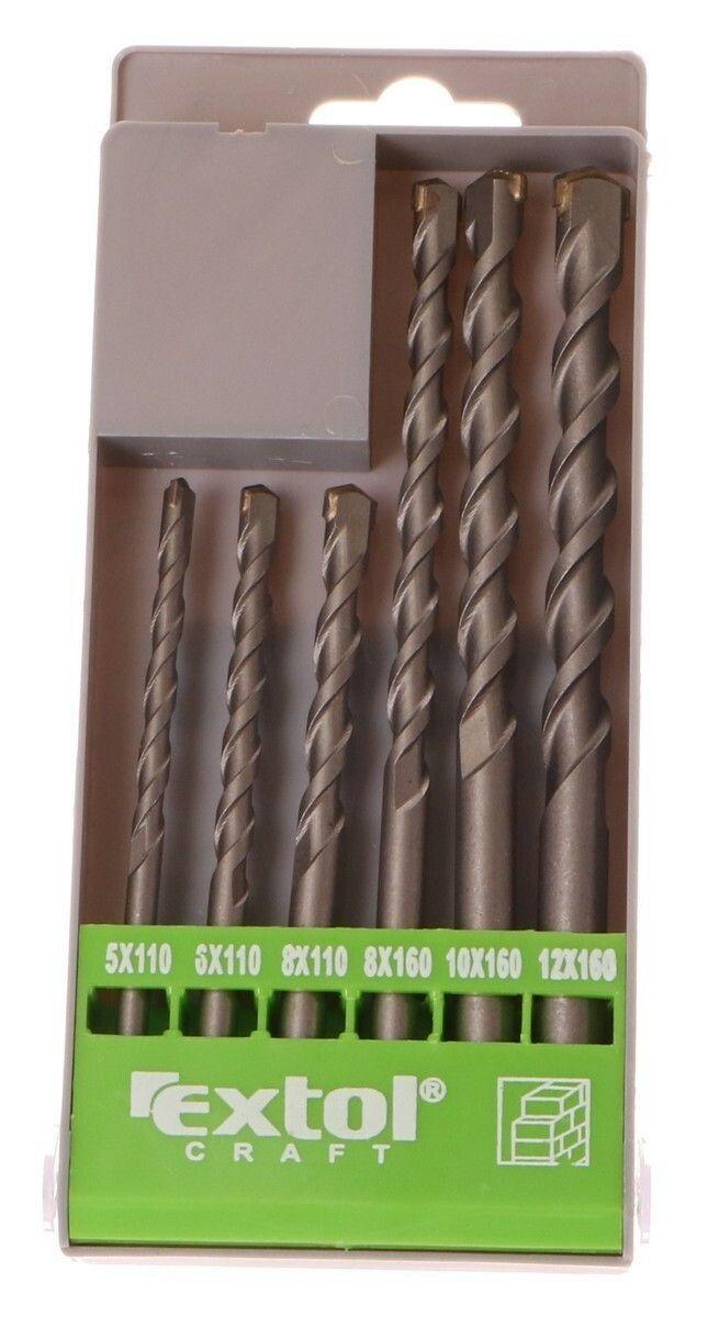Vrtáky příklepové do betonu, sada 6ks, O 5-6-8x110mm, 8-10-12x160mm EXTOL-CRAFT