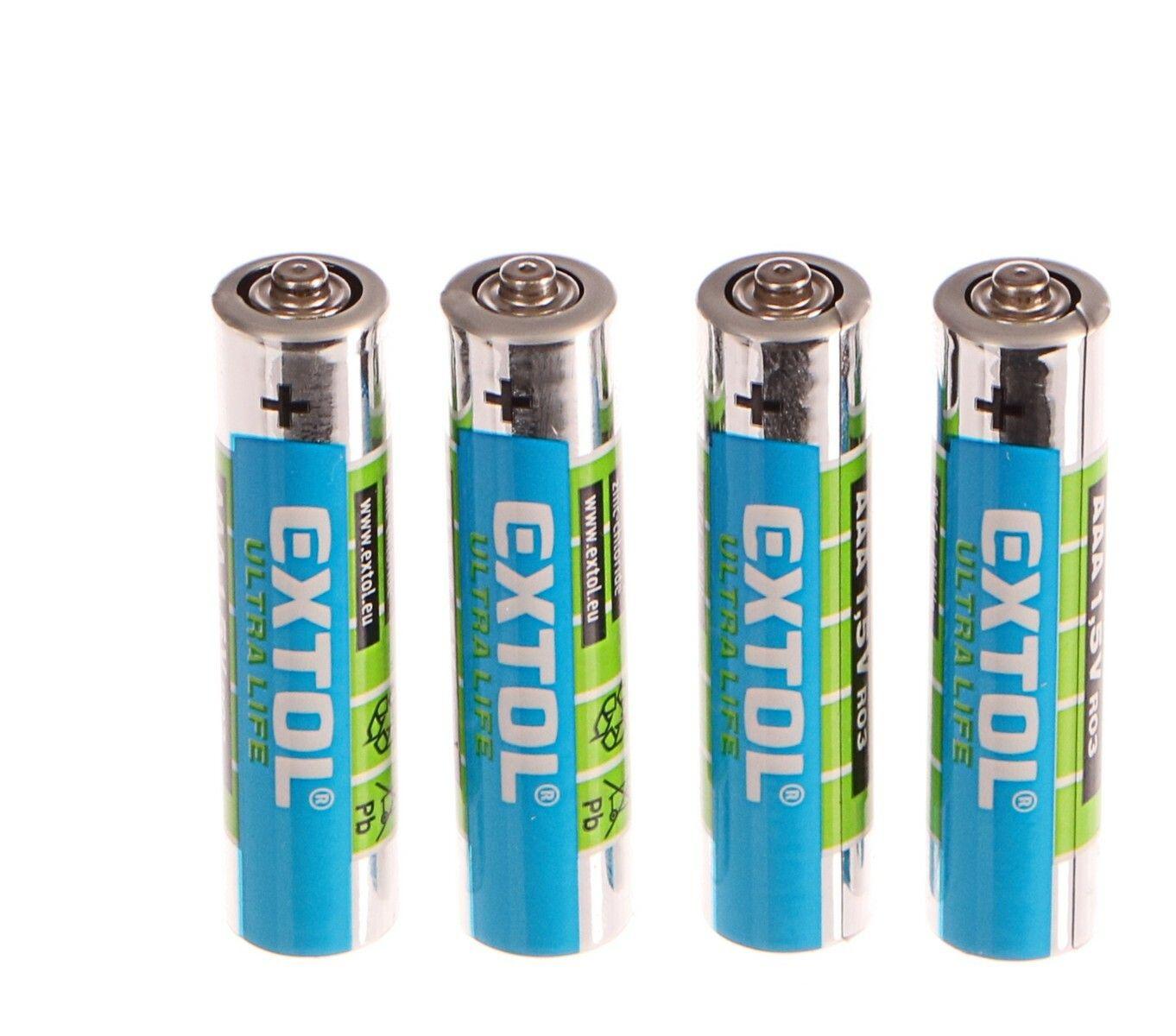 Baterie zink-chloridové, 4ks, 1,5V AAA (LR03) EXTOL-LIGHT