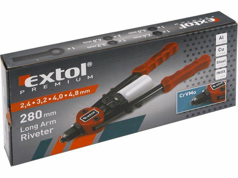 Kleště nýtovací pákové krátké, 280mm, pro trhací nýty 2,4-3,2-4,0-4,8 CrMoV, EXTOL PREMIUM