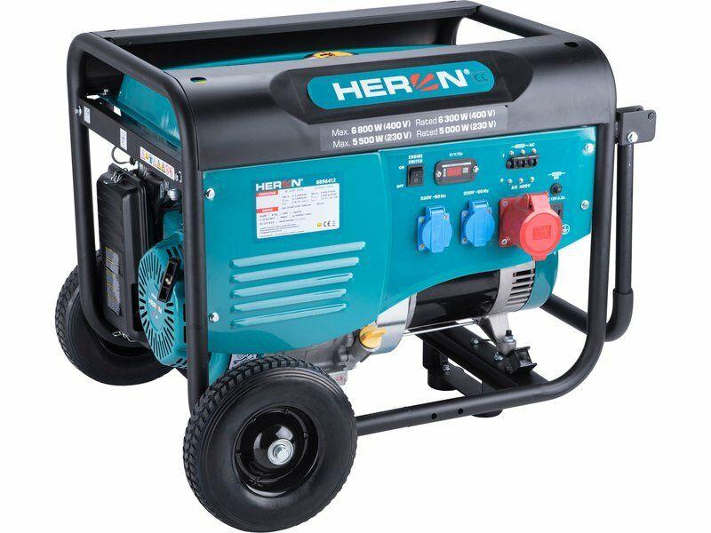 Elektrocentrála benzínová 13HP/6,0kW (400V), 2x2,2kW (230V), podvozek HERON
