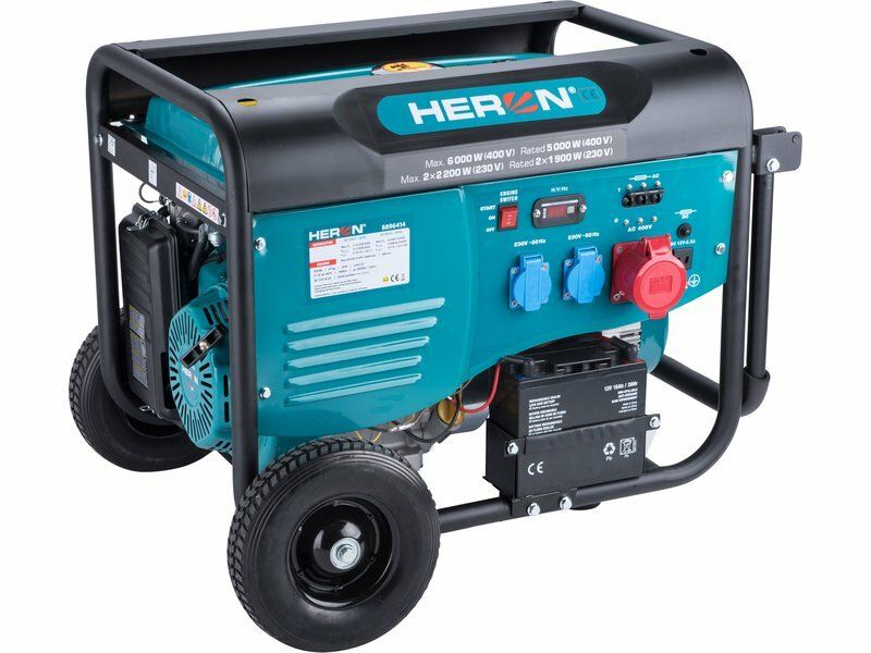 Elektrocentrála benzínová 13HP/6,0kW (400V), 2x2,2kW (230V), elektrický start, podvozek HERON