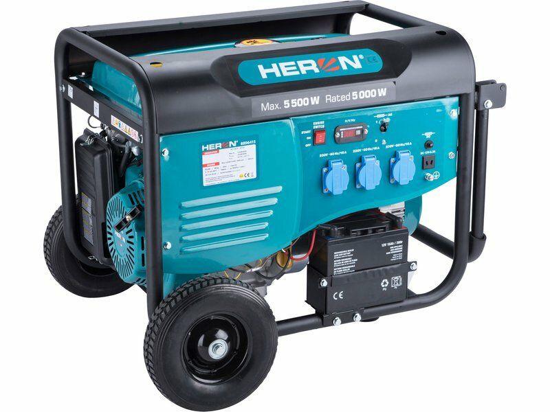 Elektrocentrála benzínová 5,5kW/13HP, pro svařování, elektrický start, podvozek HERON