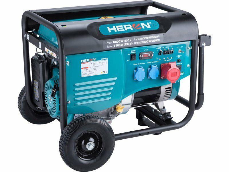 Elektrocentrála benzínová 15HP/6,8kW (400V), 5,5kW (230V), podvozek HERON