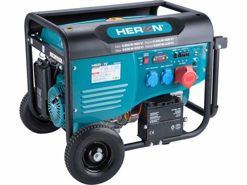 Elektrocentrála benzínová 15HP/6,8kW (400V), 5,5kW (230V), elektrický start, podvozek HERON