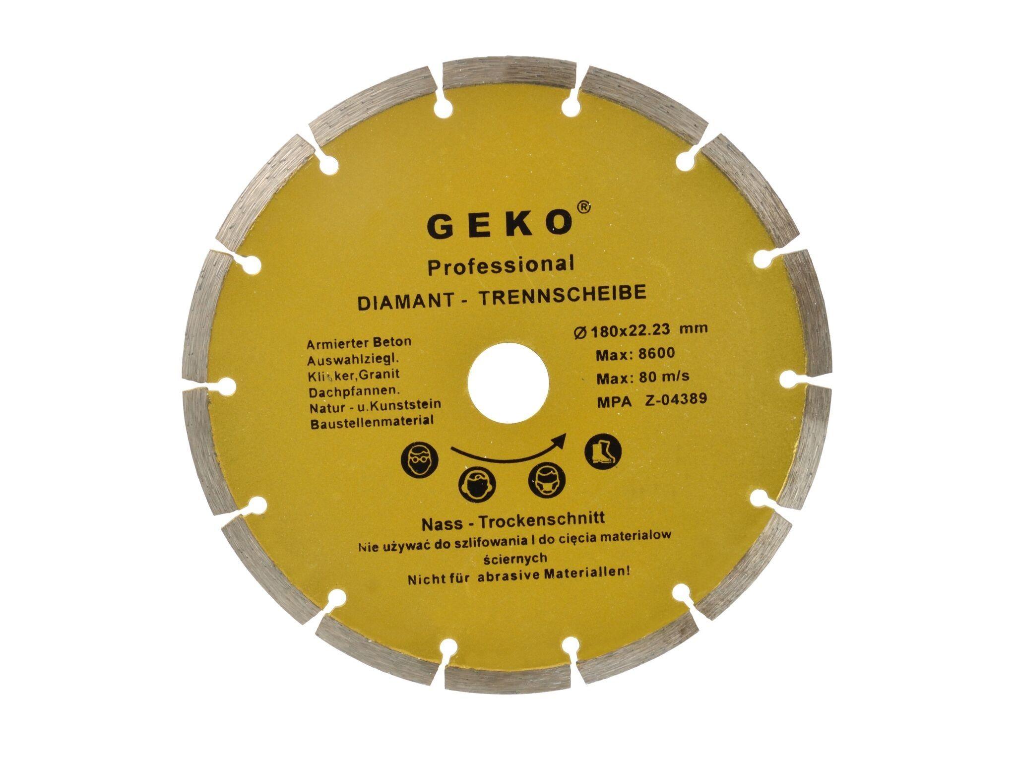 Diamantový řezný kotouč segmentový, 180x22mm, GEKO G00252