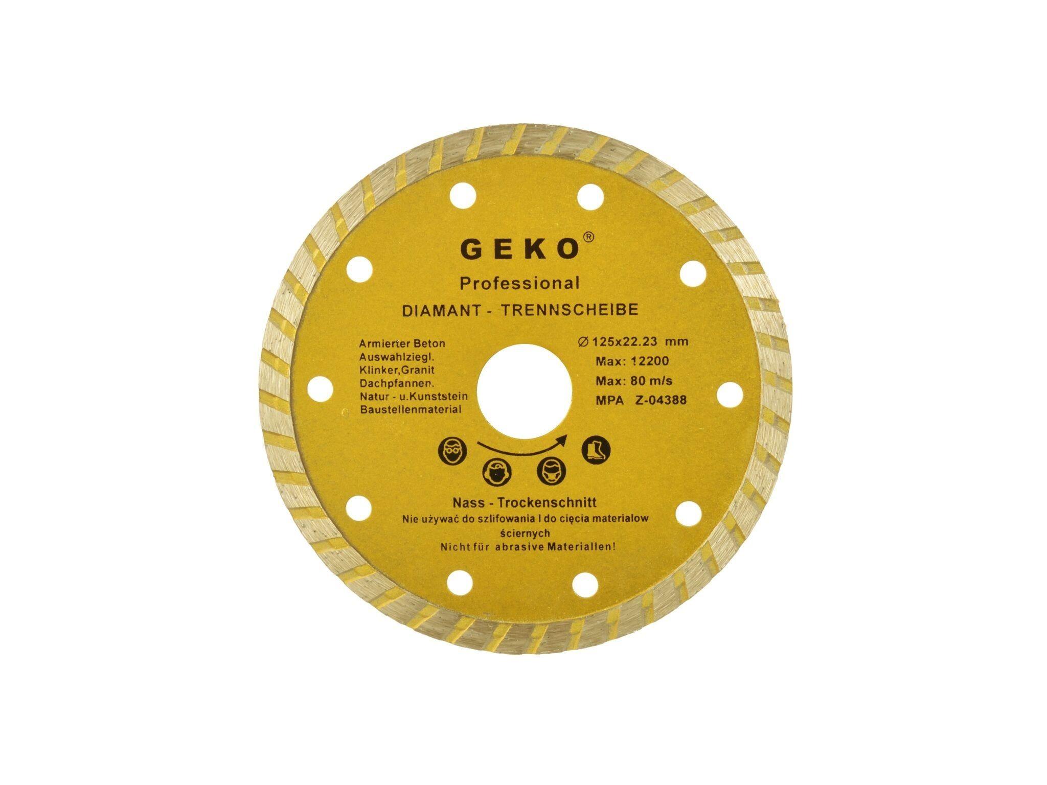 Diamantový řezný kotouč, TURBO, 125x22mm, GEKO G00261