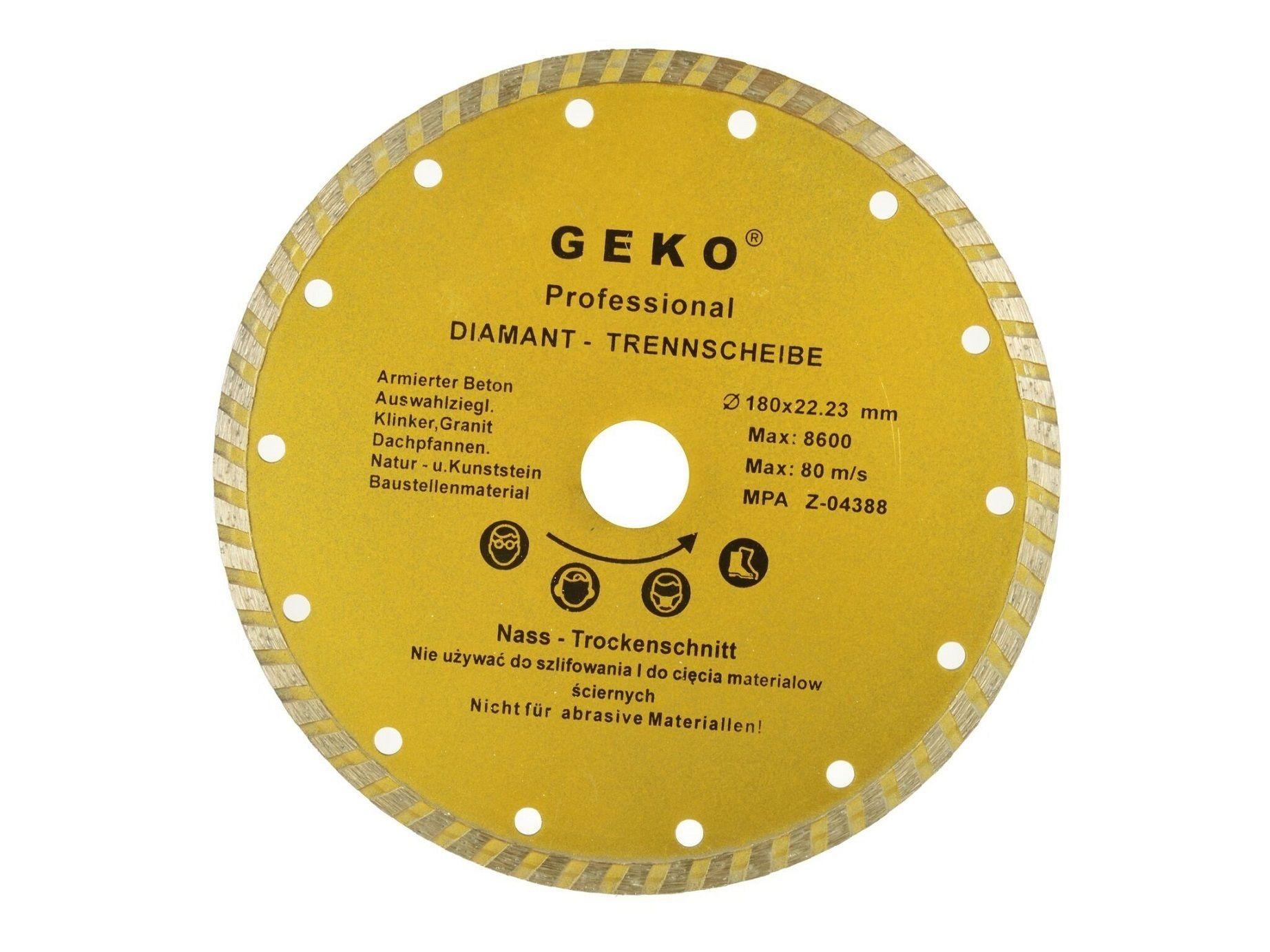 Diamantový řezný kotouč, TURBO, 180x22mm, GEKO G00262