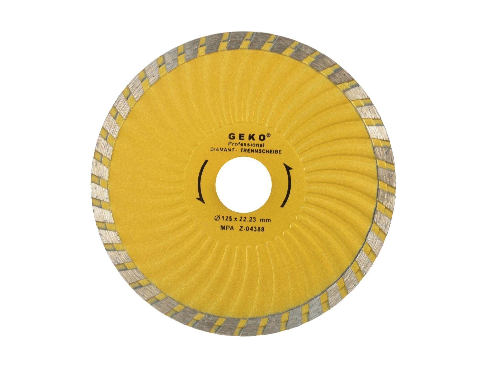 Diamantový řezný kotouč, TURBO PLUS, 125x22mm, GEKO G00271