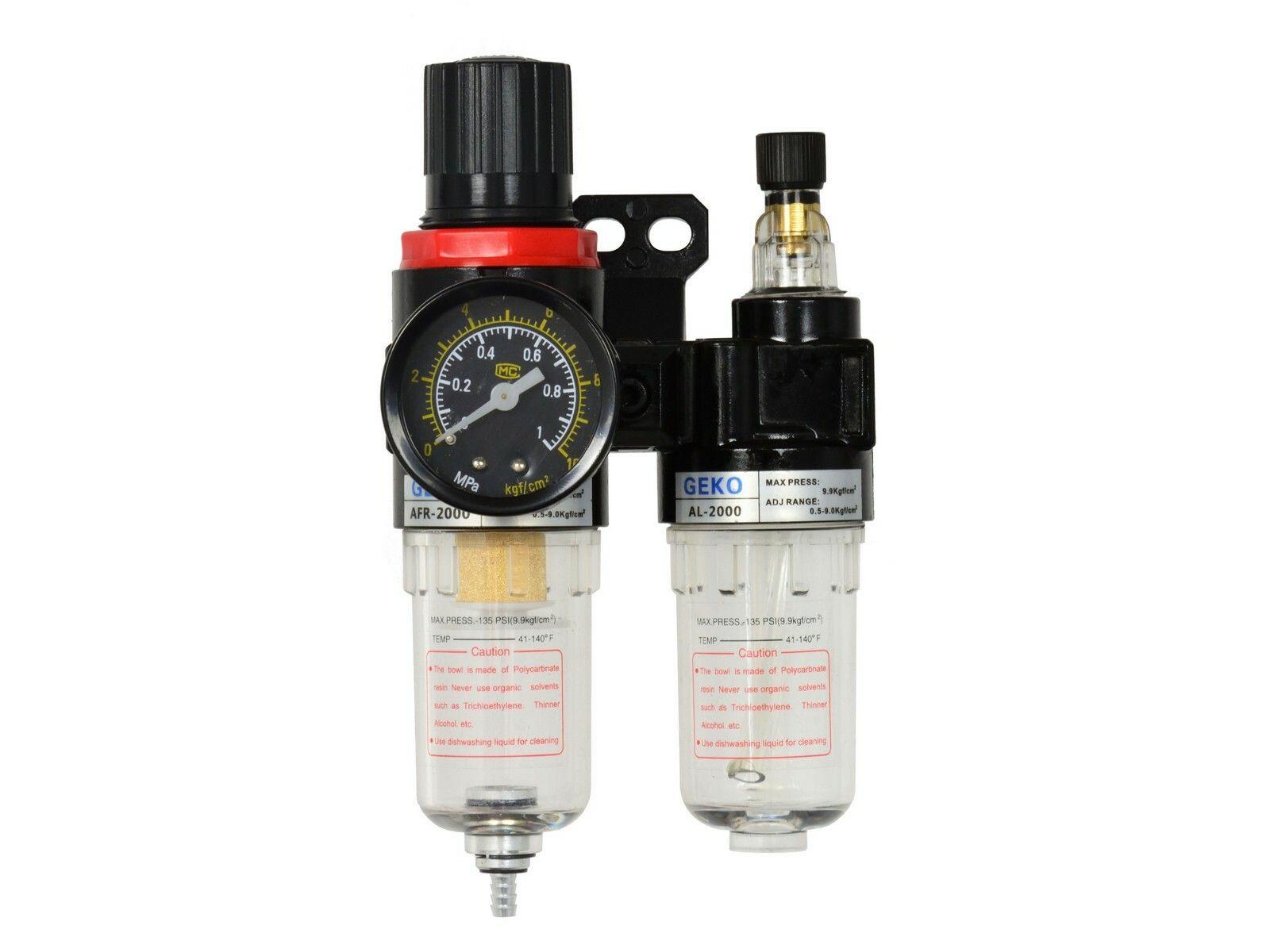 Regulátor tlaku s filtrem a manometrem a přim. oleje, max. prac. tlak 9bar GEKO