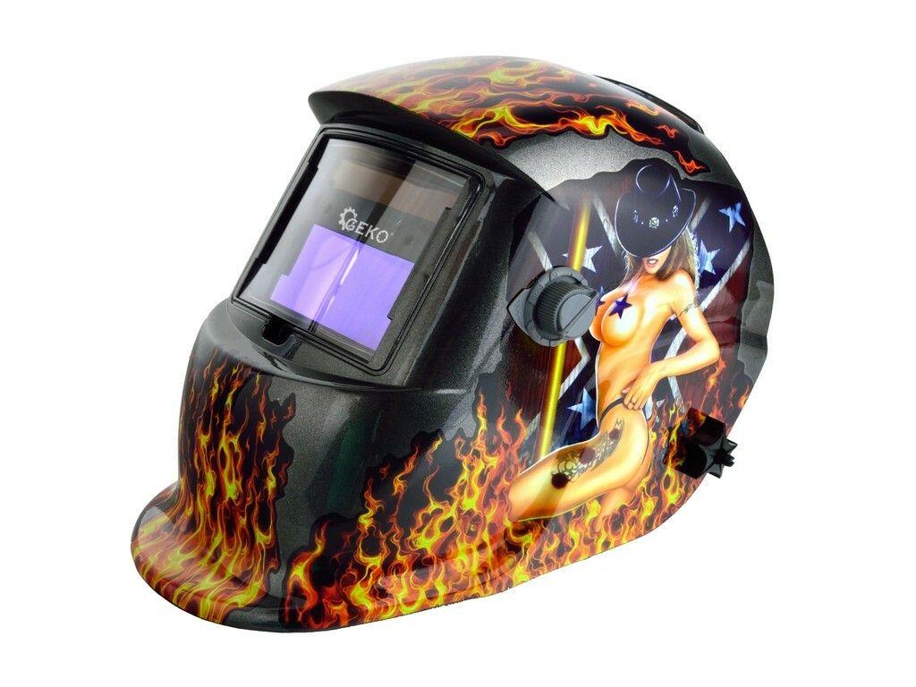 GEKO G01877 Svářecí kukla samostmívací s plameny