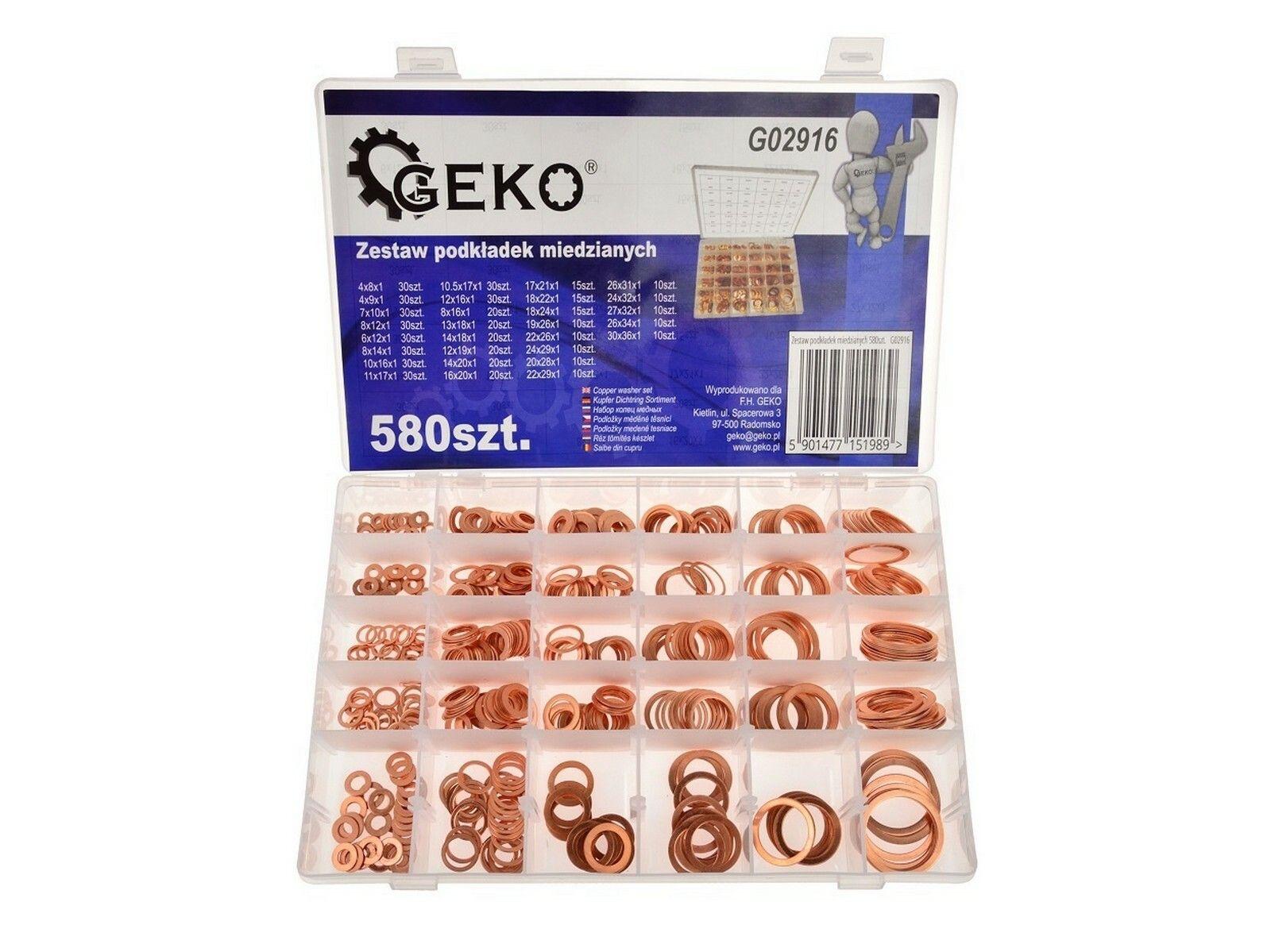 Sada měděných podložek 580 ks GEKO