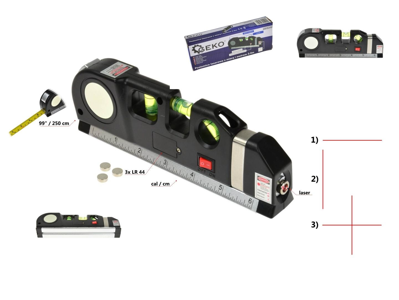 Laserová vodováha s metrem 2,5m GEKO