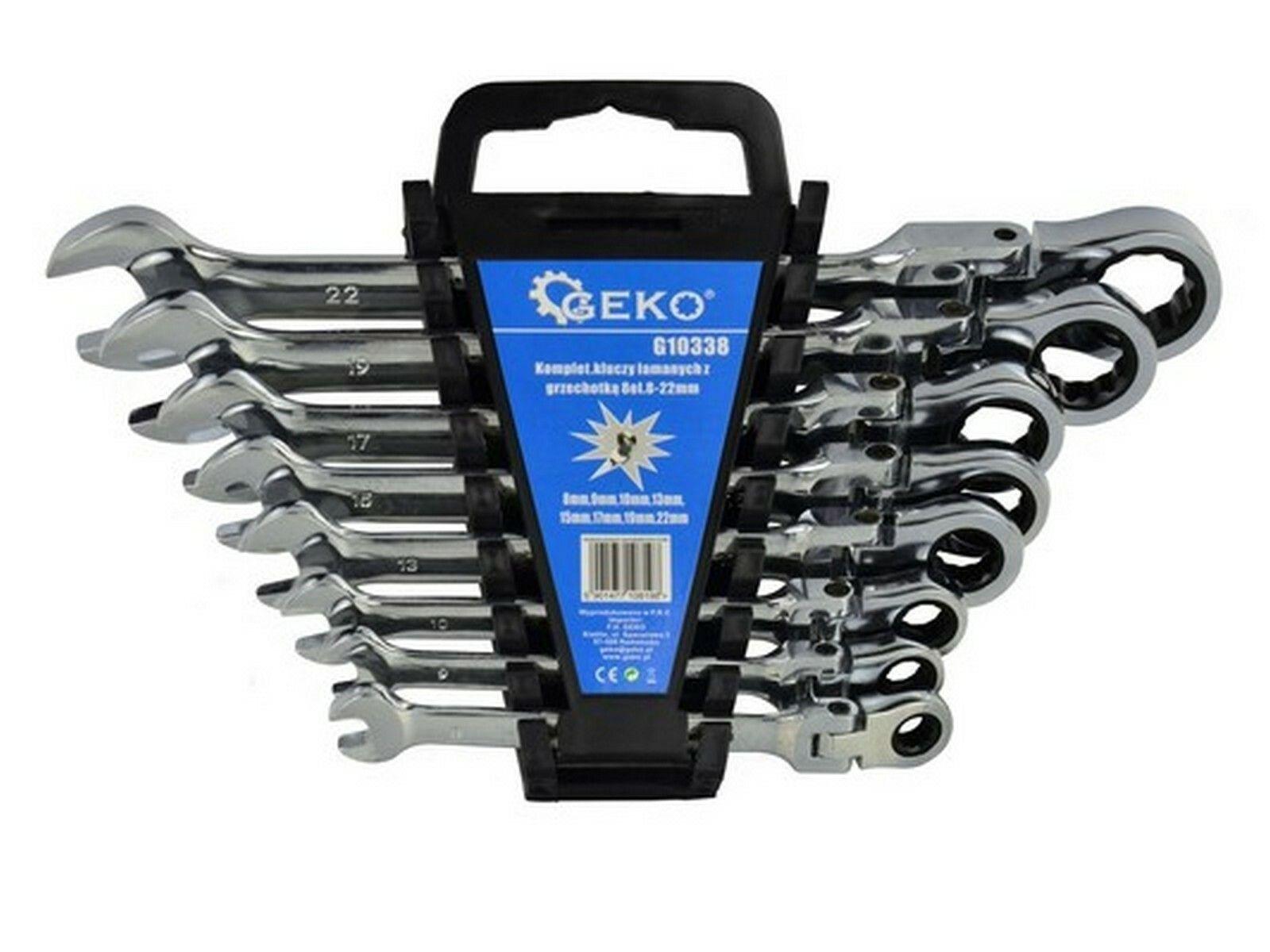 Klíče ráčnové očkoploché s kloubem, sada 8ks, 8-22 mm, plast. držák GEKO