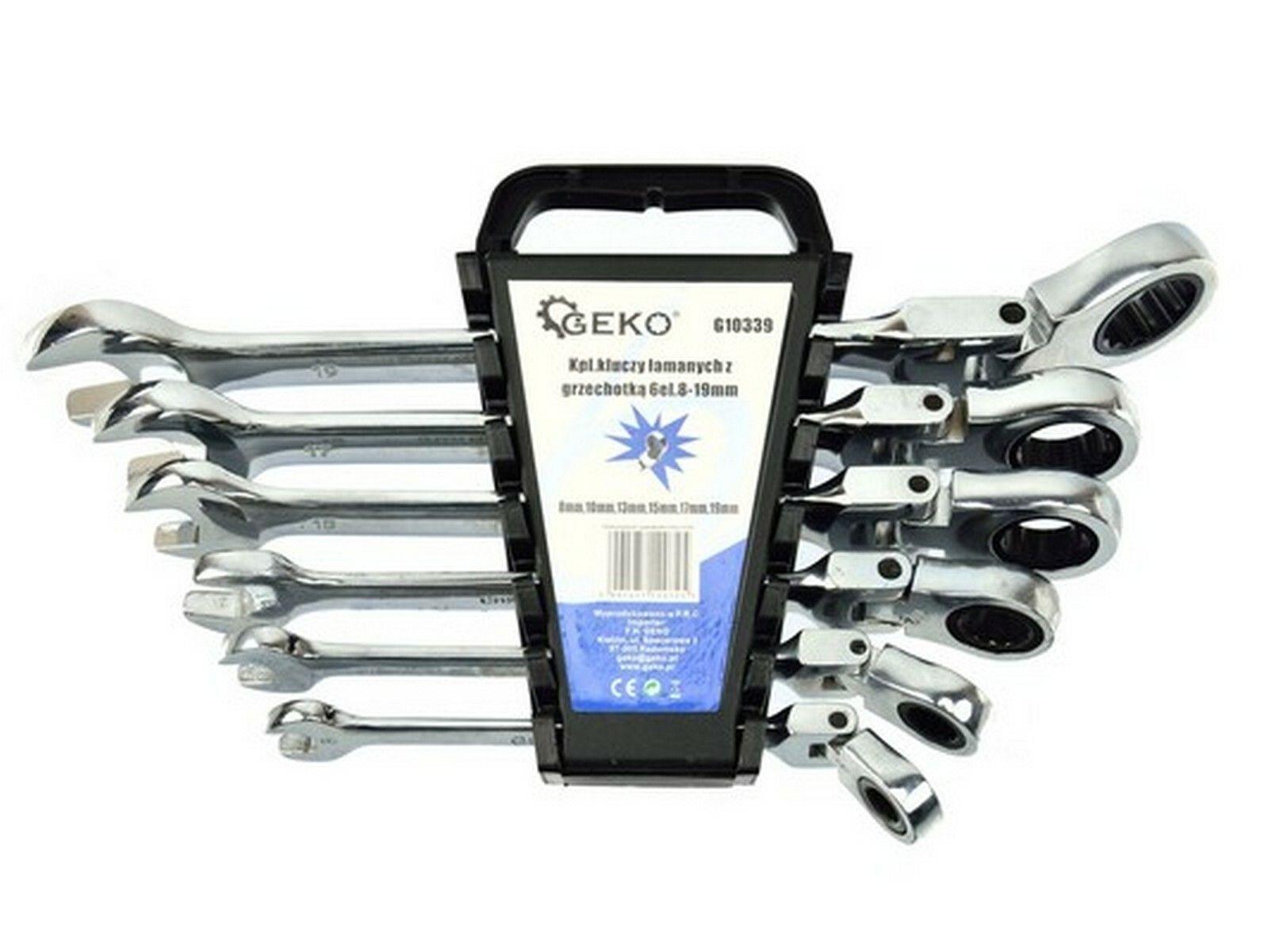 Klíče ráčnové očkoploché s kloubem, sada 6ks, 8-19mm, plast. držák GEKO
