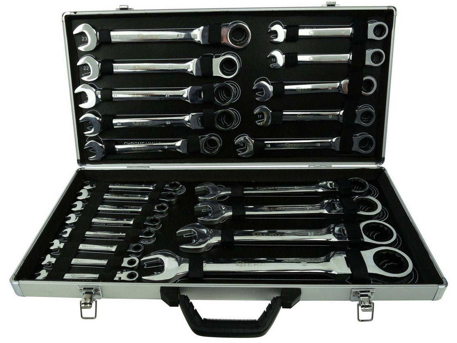 Sada ráčnových klíčů s kloubem, 22ks, 6-32 mm GEKO